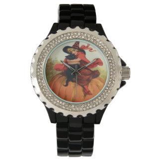 Witch Pumpkin Black Cat Vintage Halloween Watch