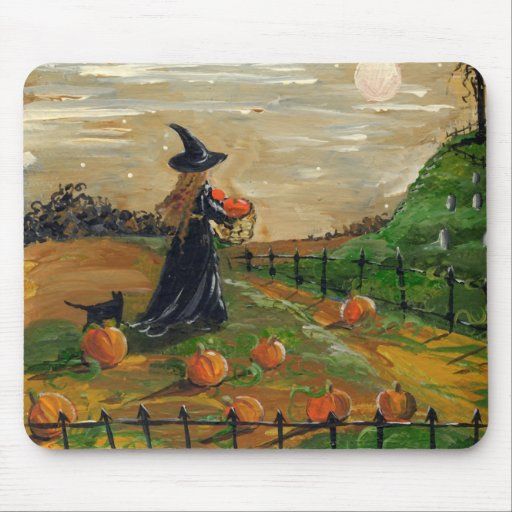 Witch Pumpkin Patch Mountain Mouse Pad