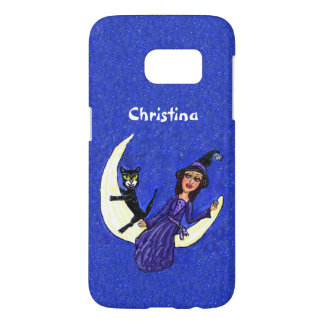 Witch Purple Dress With Black Cat Sitting on Moon