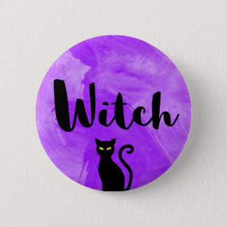 Witch Purple Watercolour Textured Black Cat 6 Cm Round Badge
