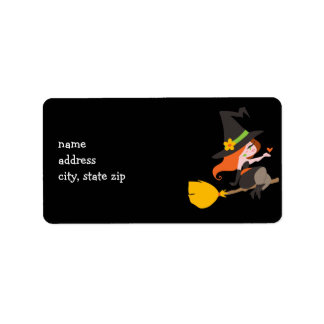 Witch Riding a Broomstick Address Label