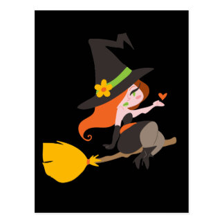 Witch Riding a Broomstick Postcard
