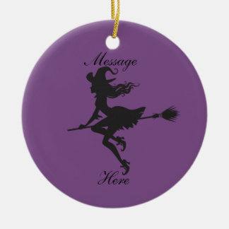 Witch Riding Broom Halloween Thunder_Cove Christmas Ornament
