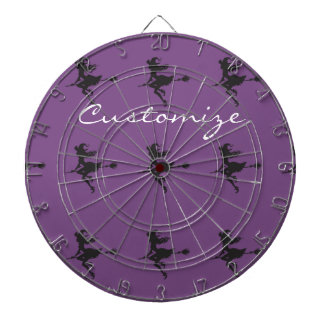 Witch Riding Broom Halloween Thunder_Cove Dartboard