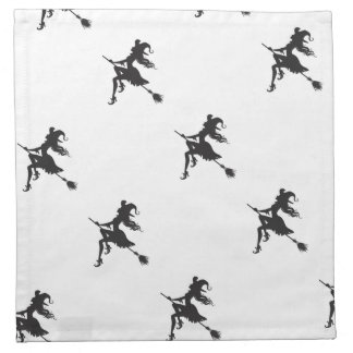 Witch Riding Broom Halloween Thunder_Cove Napkin