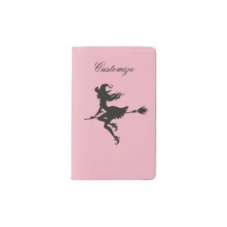 Witch Riding Broom Halloween Thunder_Cove Pocket Moleskine Notebook