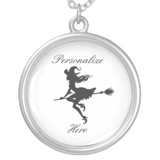 Witch Riding Broom Halloween Thunder_Cove Silver Plated Necklace
