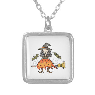 Witch Riding Broom Square Pendant Necklace