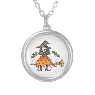 Witch Riding Broom Round Pendant Necklace