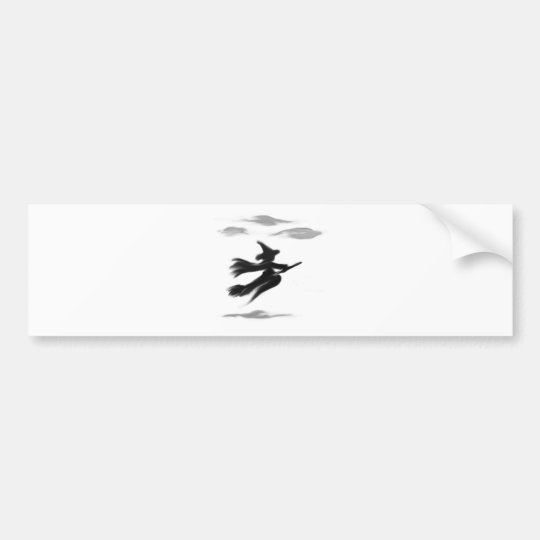 Witch Riding Her Broom Painted Design Bumper Sticker