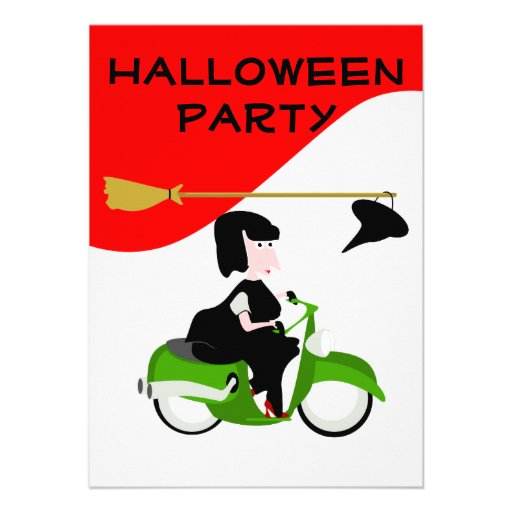 Witch riding Moped Halloween Party invitation