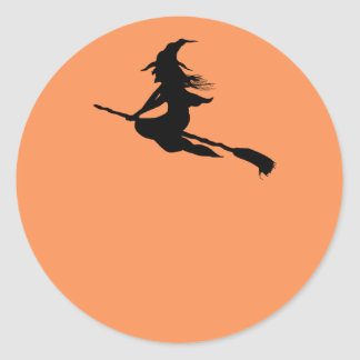 Witch Silhouette Halloween Stickers or Name Tags