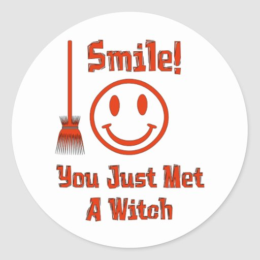 Witch Smile Round Stickers