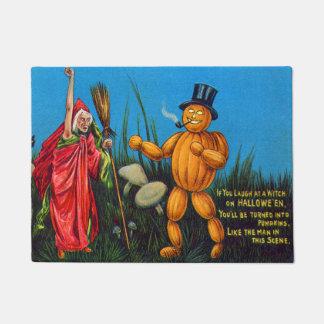 Witch Spell Jack O' Lantern Pumpkin Black Cat Doormat