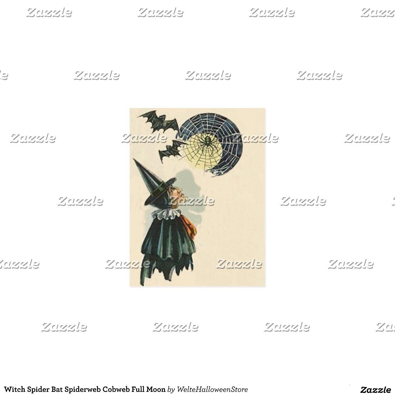 Witch Spider Bat Spiderweb Cobweb Full Moon Postcard   Zazzle