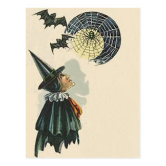 Witch Spider Bat Spiderweb Cobweb Full Moon Post Card