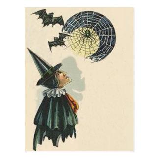 Witch Spider Bat Spiderweb Cobweb Full Moon Postcard
