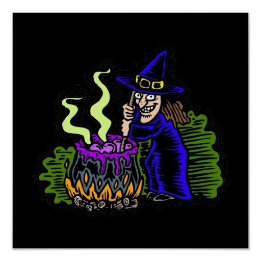 Witch stirring brew poster