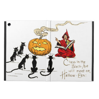 Witch Teaching Black Cat Jack O' Lantern Cover For iPad Air