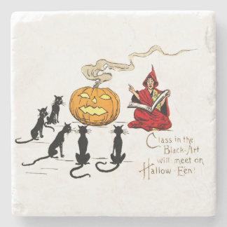Witch Teaching Black Cat Jack O' Lantern Stone Coaster