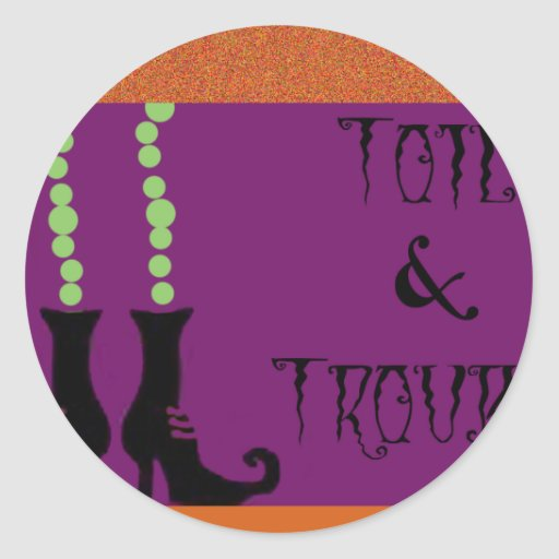 WITCH TOIL AND TROUBLE ROUND STICKERS