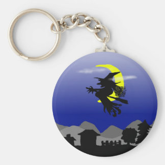 Witch Town Wicked Halloween Themed Design Key Ring