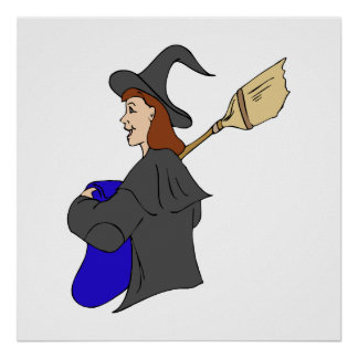 Witch Trick or Treater Girl Poster