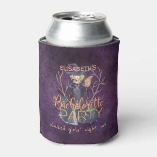 Witch watercolor Halloween bachelorette party Can Cooler