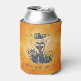 Witch watercolor Halloween wicked girls night out Can Cooler