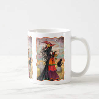Witch Way Halloween Witch and Cat Fantasy Art Coffee Mug