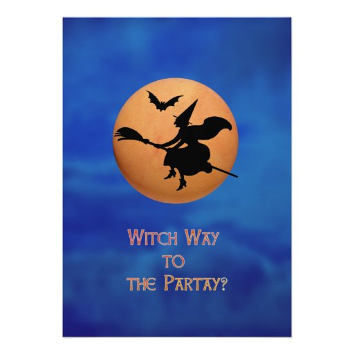 Witch way to the partay Halloween party Invitation