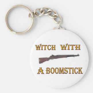 Witch with a boomstick key ring