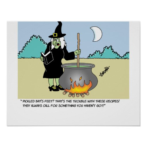 Witch With A Recipe Book Print