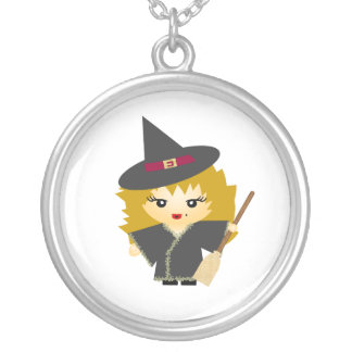 Witch with Broom Round Pendant Necklace