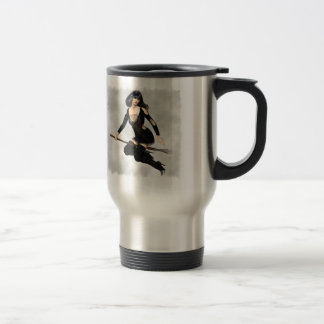 Witch with Broom Travel Mug
