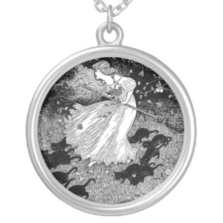 Witch with cats round pendant necklace