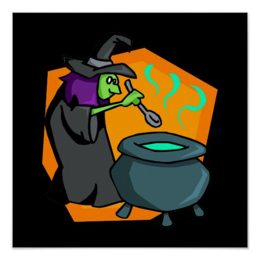 Witch with cauldron poster