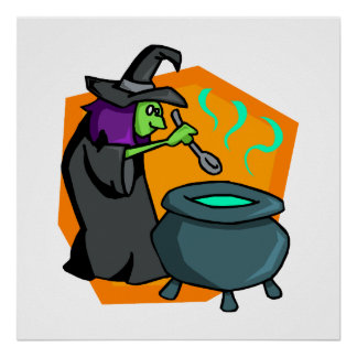 Witch with cauldron posters