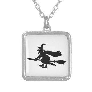 Witch with the broom flies necklaces