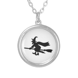Witch with the broom flies silver plated necklace