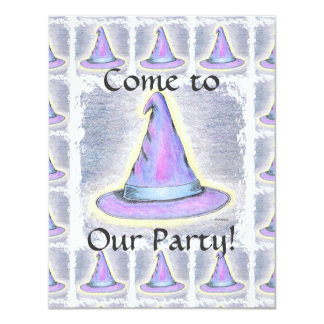 Witch Wizard Pagan Hat Children's Party 4.25x5.5 Paper Invitation Card