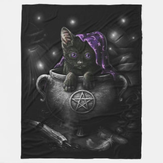 Witches Black Kitten Fleece Blanket