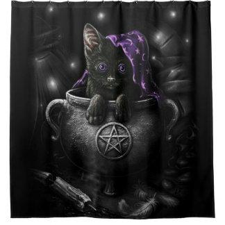 Witches Black Kitten Shower Curtain