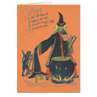 Witches Brew Happy Halloween with Cat Card
