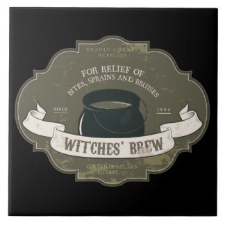 Witches Brew Vintage Halloween Label Tile