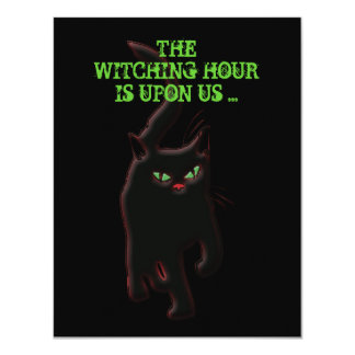 Witches cat spooky halloween black 11 cm x 14 cm invitation card