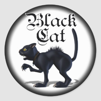 Witches Cat Round Sticker
