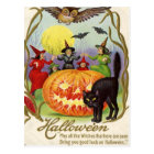 Witches Dancing Around Jack O' Lantern Postcard
