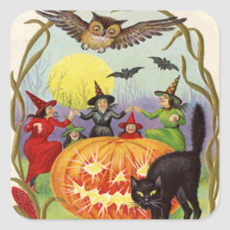 Witches Dancing Around Jack O' Lantern Square Sticker