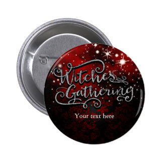 Witches Gathering Red & Black Damask Halloween 6 Cm Round Badge